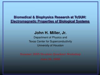 Biomedical  Biophysics Research at TcSUH: Electromagnetic Properties of Biological Systems