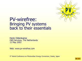 PV-wirefree: Bringing PV systems back to their essentials