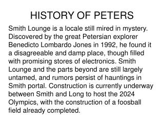 HISTORY OF PETERS