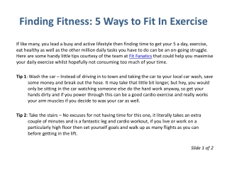 Finding Fitness: 5 Ways to Fit In Exercise