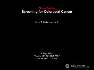 Clinical Practice  Screening for Colorectal Cancer