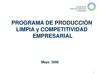 PROGRAMA DE PRODUCCI N  LIMPIA y COMPETITIVIDAD  EMPRESARIAL