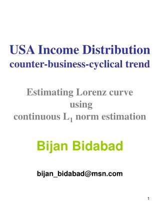 USA Income Distribution counter-business-cyclical trend  Estimating Lorenz curve  using continuous L1 norm estimation  B