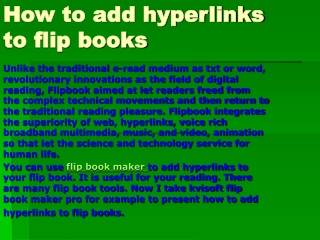 How to add hyperlinks to flip books