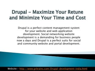 Drupal Maximize Your Retune and Minimize Your Time and Cost