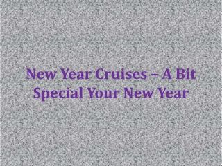 New Year Cruises – A Bit Special Your New Year