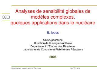 Analyses de sensibilit  globales de mod les complexes,  quelques applications dans le nucl aire   B. Iooss   CEA Cadarac