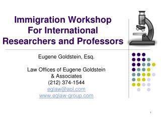 Immigration Workshop  For International Researchers and Professors