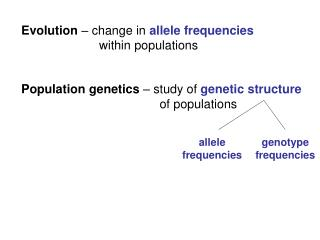 Evolution   change in allele frequencies       within populations