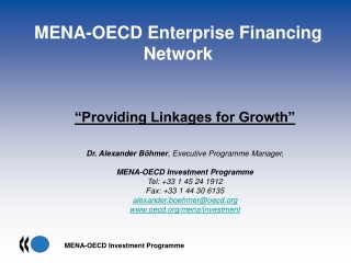THE POLICY FRAMEWORK  FOR INVESTMENT    A tool to mobilise investment  to support economic growth and sustainable develo