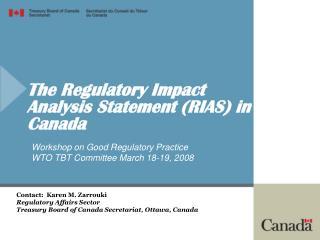 The Regulatory Impact Analysis Statement RIAS in Canada