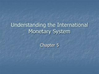 Understanding the International Monetary System