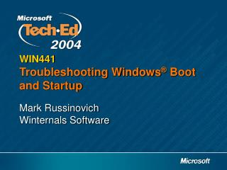 WIN441 Troubleshooting Windows  Boot and Startup