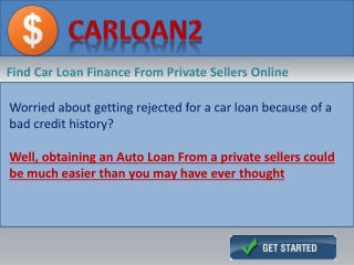 Personal Car Loans From a Private sellers