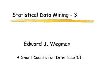 Statistical Data Mining - 3