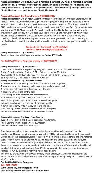 Amrapali Heartbeat City Noida | 8800195900