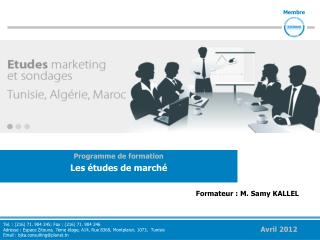 Programme de formation Les  tudes de march