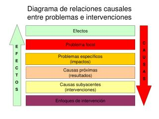 Diagrama de relaciones causales  entre problemas e intervenciones