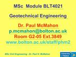 MSc Civil Engineering - Dr. Paul H. McMahon