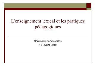 L enseignement lexical et les pratiques p dagogiques