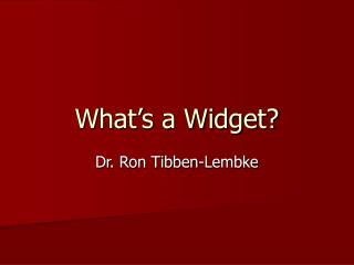 What s a Widget