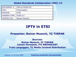 IPTV in ETSI