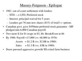 Massey-Ferguson - Epilogue