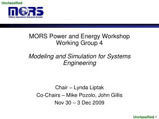 MORS Power and Energy Workshop Working Group 4  Modeling and Simulation for Systems Engineering