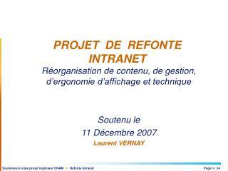 PROJET  DE  REFONTE INTRANET