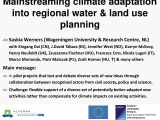 Mainstreaming climate adaptation into regional water  land use planning