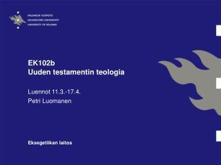 EK102b  Uuden testamentin teologia