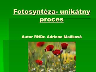 Fotosynt za- unik tny proces    Autor RNDr. Adriana Mankov