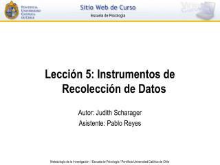 Lecci n 5: Instrumentos de Recolecci n de Datos  Autor: Judith Scharager Asistente: Pablo Reyes