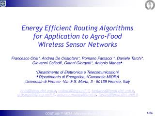 Energy Efficient Routing Algorithms for Application to Agro-Food Wireless Sensor Networks