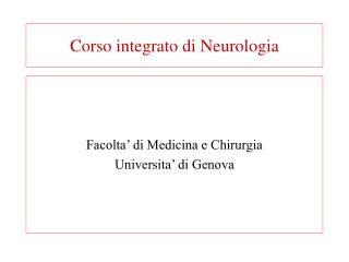 Corso integrato di Neurologia