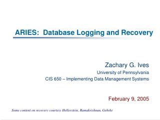 ARIES:  Database Logging and Recovery