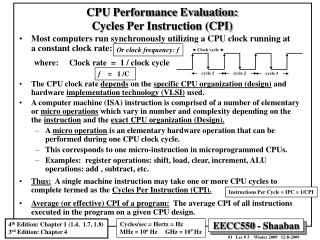 CPU Performance Evaluation: Cycles Per Instruction CPI