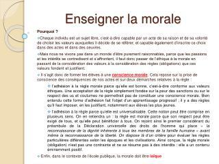 Enseigner la morale
