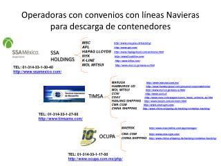 Operadoras con convenios con l neas Navieras para descarga de contenedores
