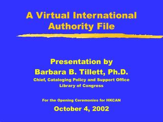 A Virtual International  Authority File