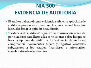 NIA 500 EVIDENCIA DE AUDITOR A