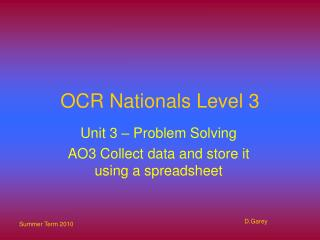 OCR Nationals Level 3