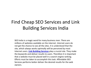 Find Cheap SEO Services and Link Building Services India