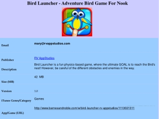 Bird Launcher - Adventure Bird Game For Nook