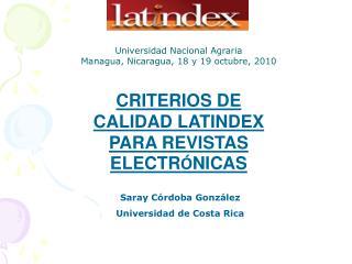 CRITERIOS DE CALIDAD LATINDEX PARA REVISTAS ELECTR NICAS