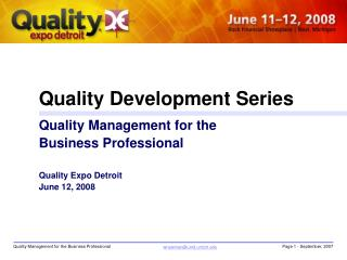 Quality Development Series