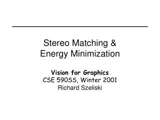 Stereo Matching  Energy Minimization