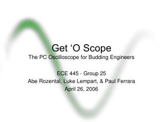 Get  O Scope The PC Oscilloscope for Budding Engineers