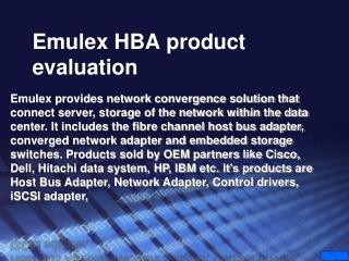 Emulex 8GB HBA Product Evaluation