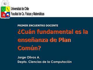 PRIMER ENCUENTRO DOCENTE  Cu n fundamental es la ense anza de Plan Com n  Jorge Olivos A. Depto. Ciencias de la Computac